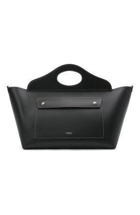 Женская сумка pocket medium BURBERRY черного цвета, арт. 8039049 | Фото 1 (Размер: large, medium; Материал: Натуральная кожа; Сумки-технические: Сумки top-handle; Ошибки технического описания: Нет ширины)