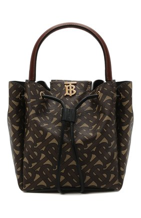 Женская сумка peony BURBERRY темно-коричневого цвета, арт. 8031654 | Фото 1 (Сумки-технические: Сумки top-handle, Сумки через плечо; Материал: Экокожа; Размер: mini; Ремень/цепочка: На ремешке)