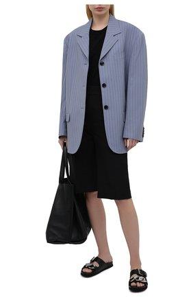 Женские кожаные шлепанцы N21 черного цвета, арт. 21ECPXNV10155/FUSSBET   Фото 2