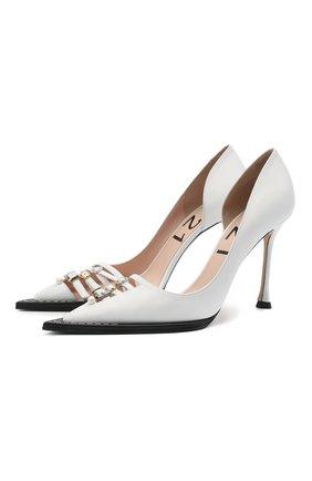 Женские кожаные туфли N21 белого цвета, арт. 21ECS0NV11102/PUMP | Фото 1