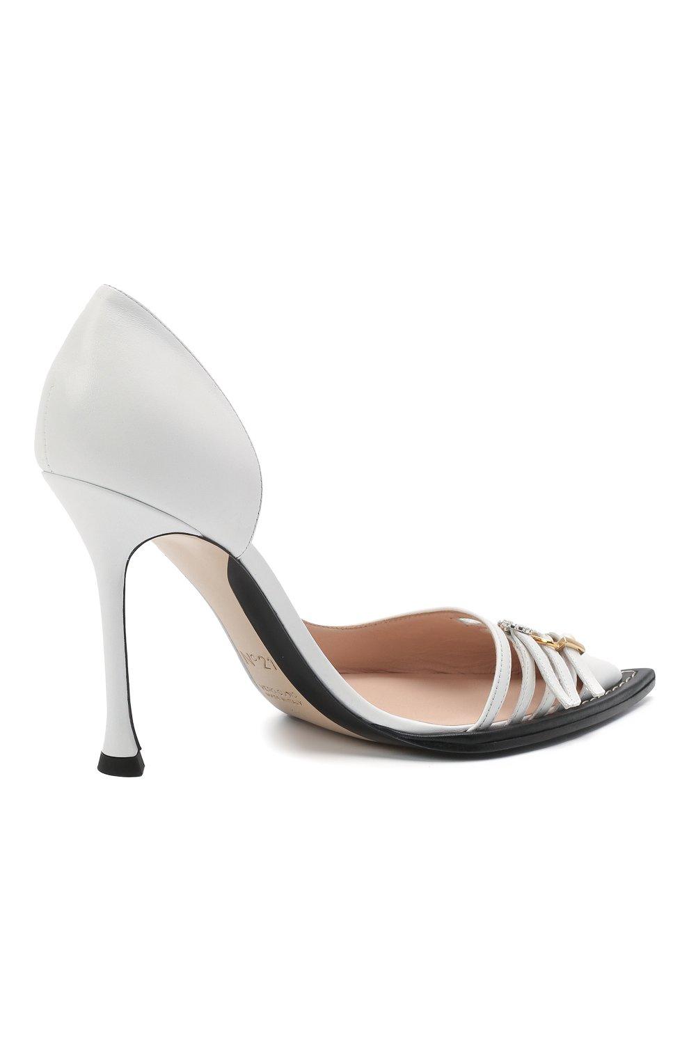 Женские кожаные туфли N21 белого цвета, арт. 21ECS0NV11102/PUMP | Фото 4