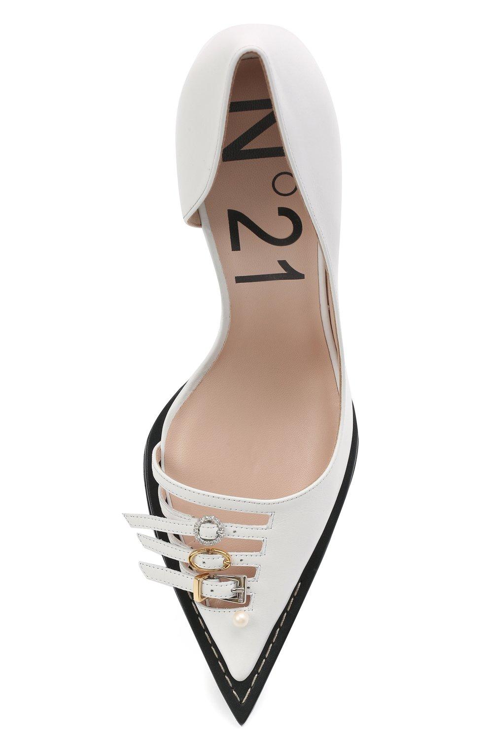 Женские кожаные туфли N21 белого цвета, арт. 21ECS0NV11102/PUMP | Фото 5