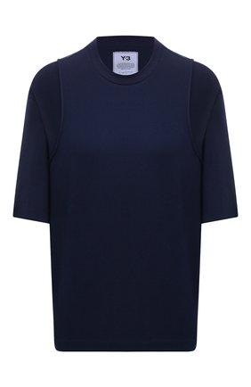Женская хлопковая футболка Y-3 темно-синего цвета, арт. GV0317/W | Фото 1