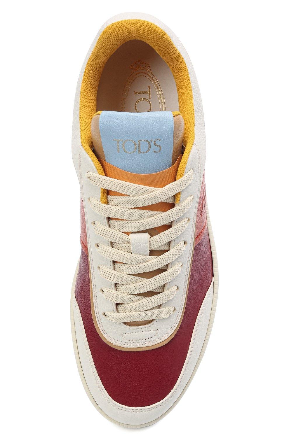 Женские кожаные кеды TOD'S красного цвета, арт. XXW68C0DP30P05 | Фото 5