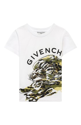 Детская хлопковая футболка GIVENCHY белого цвета, арт. H25250   Фото 1