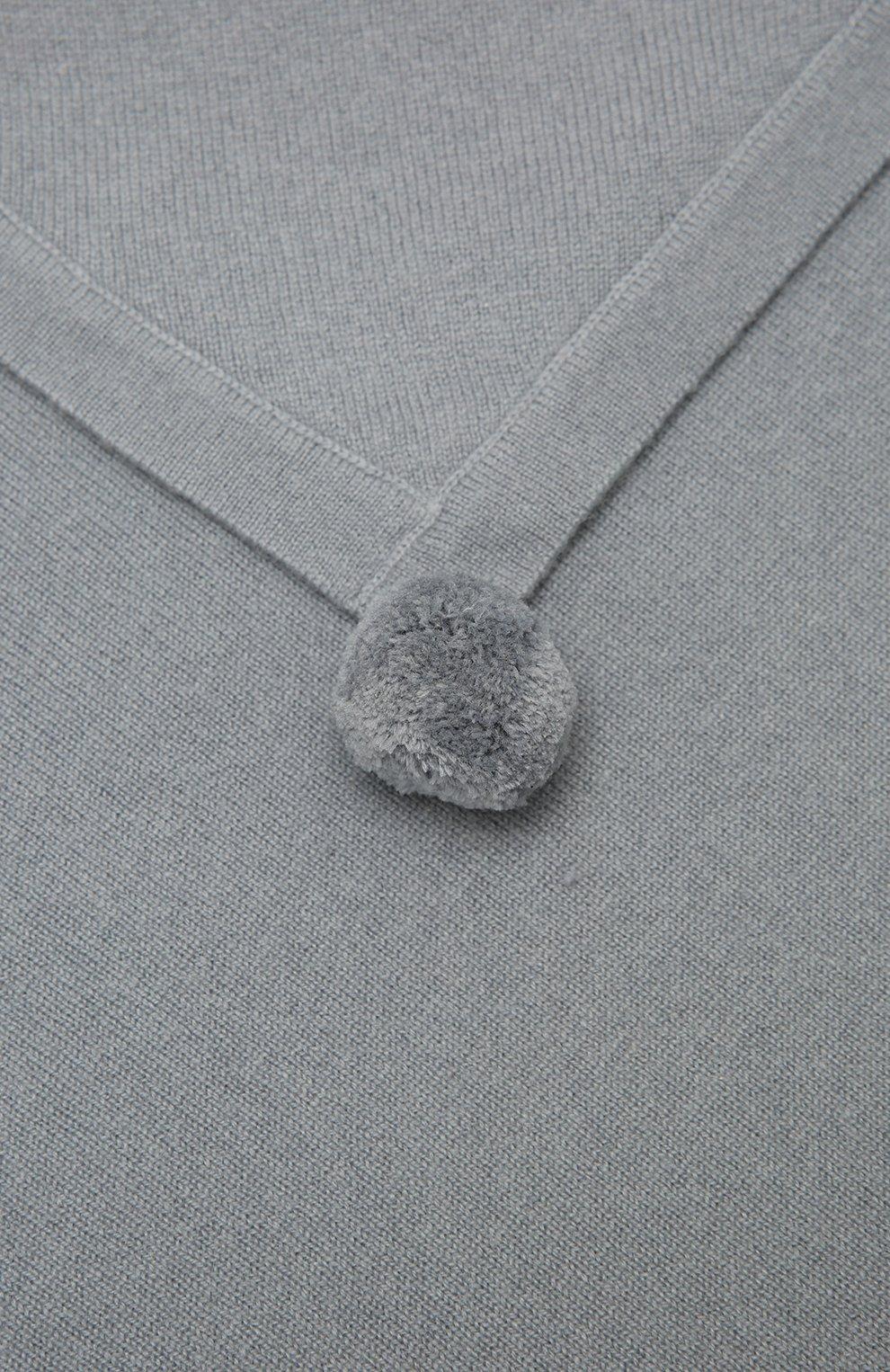 Детского кашемировый плед LES LUTINS PARIS серого цвета, арт. 21E080/CLEMENTINE   Фото 2 (Материал: Кашемир, Шерсть)