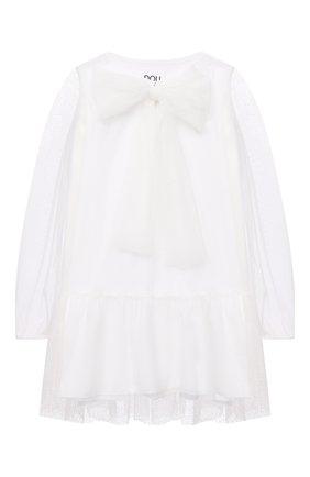 Детское платье DOUUOD белого цвета, арт. 21E/U/JR/AB05/3710/3A-8A | Фото 1