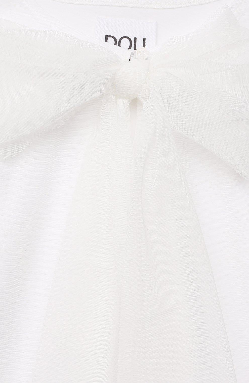Детское платье DOUUOD белого цвета, арт. 21E/U/JR/AB05/3710/3A-8A | Фото 3 (Рукава: Длинные; Случай: Повседневный; Материал внешний: Синтетический материал; Девочки Кросс-КТ: Платье-одежда; Материал подклада: Хлопок; Ростовка одежда: 6 лет | 116 см, 8 лет | 128 см)