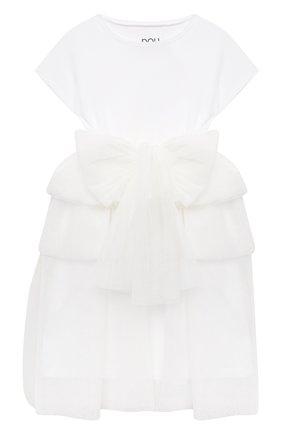 Детское хлопковое платье DOUUOD белого цвета, арт. 21E/U/JR/AB20/3710/3A-8A | Фото 1