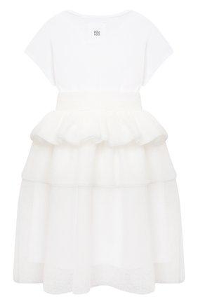 Детское хлопковое платье DOUUOD белого цвета, арт. 21E/U/JR/AB20/3710/3A-8A | Фото 2