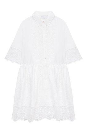 Детское хлопковое платье ERMANNO SCERVINO белого цвета, арт. ESFAB017 RI318 WSUNI1/XXS-S | Фото 1