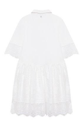 Детское хлопковое платье ERMANNO SCERVINO белого цвета, арт. ESFAB017 RI318 WSUNI1/XXS-S | Фото 2