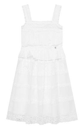Детское хлопковое платье ERMANNO SCERVINO белого цвета, арт. ESFAB019 CA17 WSUNI1/XXS-S | Фото 1