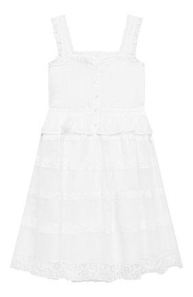 Детское хлопковое платье ERMANNO SCERVINO белого цвета, арт. ESFAB019 CA17 WSUNI1/XXS-S | Фото 2