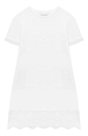Детское хлопковое платье ERMANNO SCERVINO белого цвета, арт. ESFAB024 JE95 WSUNI1/XXS-S | Фото 1