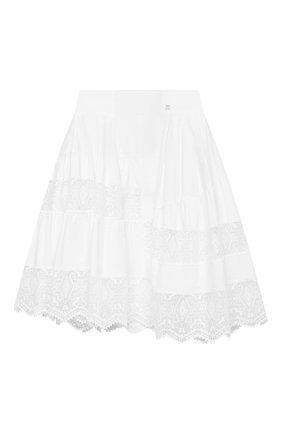 Детская хлопковая юбка ERMANNO SCERVINO белого цвета, арт. ESFG0007 CA01 WSUNI1/M-XL | Фото 1