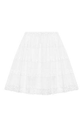 Детская хлопковая юбка ERMANNO SCERVINO белого цвета, арт. ESFG0010 CA17 WSUNI1/XXS-S | Фото 1