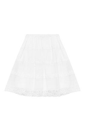 Детская хлопковая юбка ERMANNO SCERVINO белого цвета, арт. ESFG0010 CA17 WSUNI1/XXS-S | Фото 2
