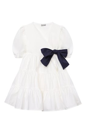 Детское хлопковое платье IL GUFO белого цвета, арт. P21VM619C0046/2A-4A   Фото 1