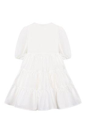 Детское хлопковое платье IL GUFO белого цвета, арт. P21VM619C0046/2A-4A   Фото 2