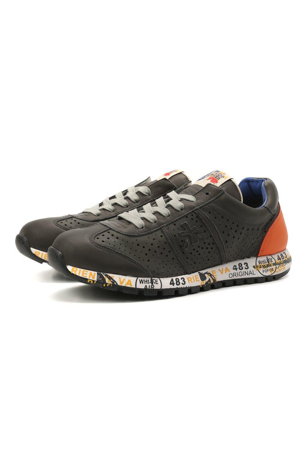Детские кожаные кроссовки PREMIATA WILL BE серого цвета, арт. LUCY/12-11462/JUN   Фото 1 (Материал внутренний: Натуральная кожа)