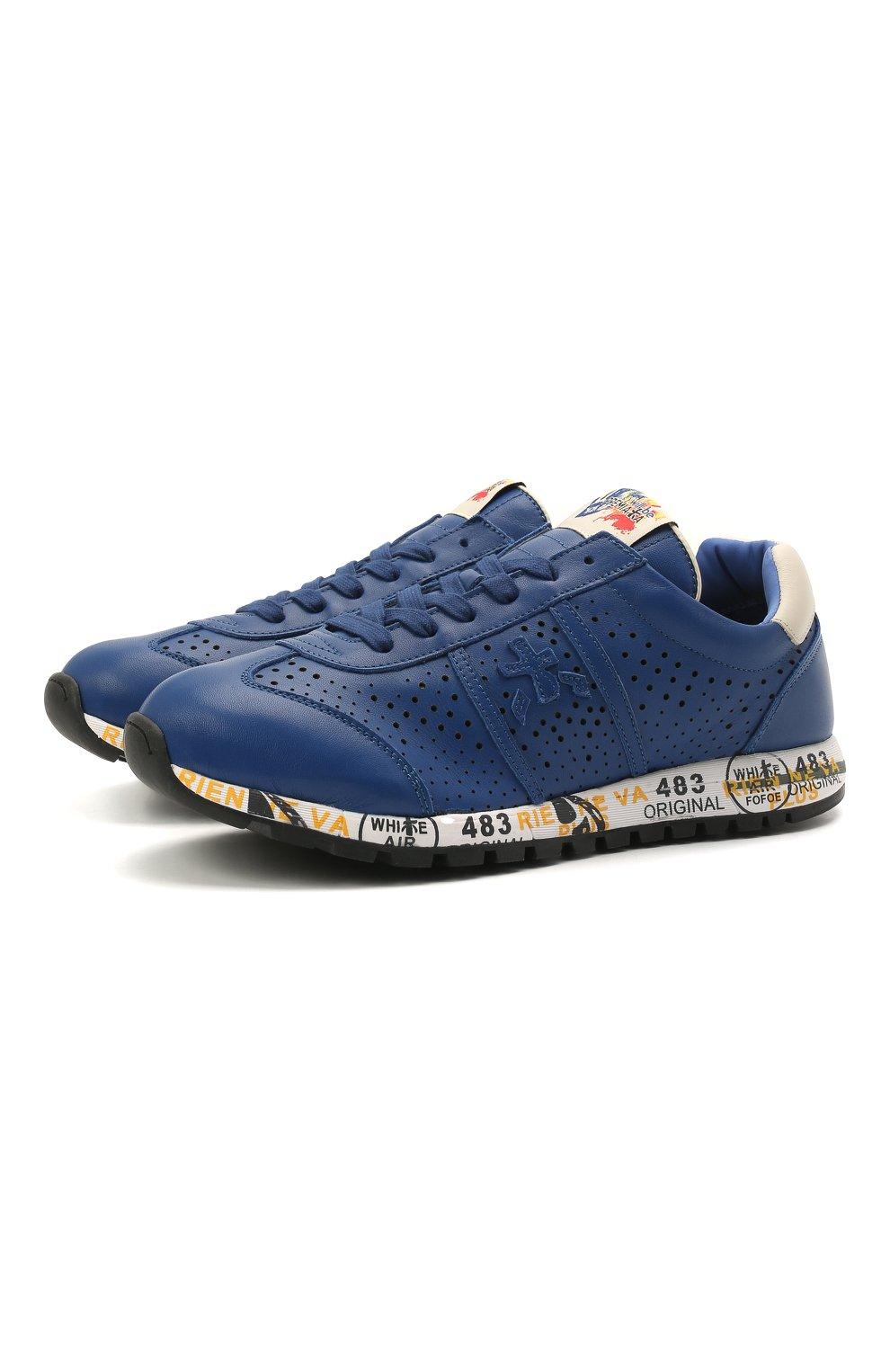 Детские кожаные кроссовки PREMIATA WILL BE синего цвета, арт. LUCY/12-11521/JUN   Фото 1 (Материал внутренний: Натуральная кожа)