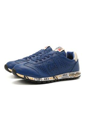 Детские кожаные кроссовки PREMIATA WILL BE синего цвета, арт. LUCY/12-11521/JUN | Фото 1 (Материал внутренний: Натуральная кожа)