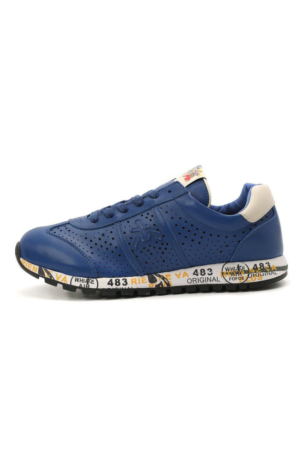 Детские кожаные кроссовки PREMIATA WILL BE синего цвета, арт. LUCY/12-11521/JUN   Фото 2 (Материал внутренний: Натуральная кожа)