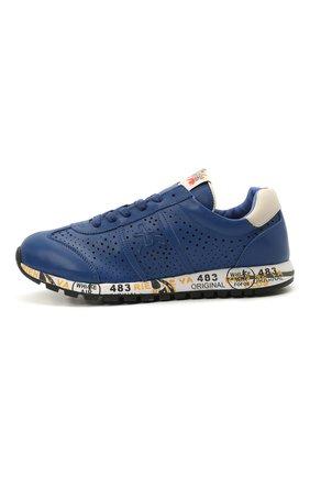 Детские кожаные кроссовки PREMIATA WILL BE синего цвета, арт. LUCY/12-11521/JUN | Фото 2 (Материал внутренний: Натуральная кожа)