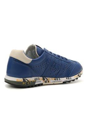 Детские кожаные кроссовки PREMIATA WILL BE синего цвета, арт. LUCY/12-11521/JUN   Фото 3 (Материал внутренний: Натуральная кожа)