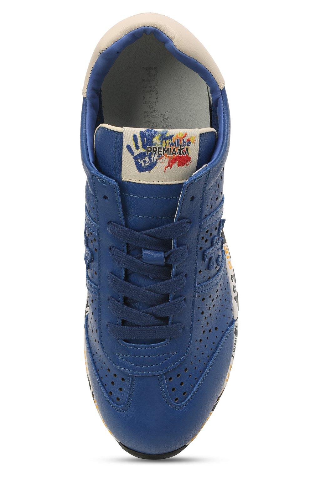 Детские кожаные кроссовки PREMIATA WILL BE синего цвета, арт. LUCY/12-11521/JUN   Фото 4 (Материал внутренний: Натуральная кожа)