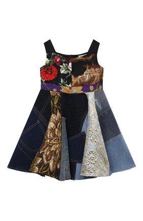 Детское платье DOLCE & GABBANA разноцветного цвета, арт. L52DS7/G7YQM/2-6 | Фото 1 (Материал подклада: Вискоза; Материал внешний: Синтетический материал, Хлопок; Рукава: Короткие; Случай: Повседневный; Девочки Кросс-КТ: Платье-одежда; Ростовка одежда: 2 года | 92 см, 3 года | 98 см, 4 года | 104 см, 5 лет | 110 см, 6 лет | 116 см)