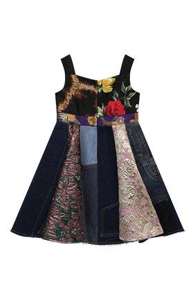 Детское платье DOLCE & GABBANA разноцветного цвета, арт. L52DS7/G7YQM/2-6 | Фото 2 (Материал подклада: Вискоза; Материал внешний: Синтетический материал, Хлопок; Рукава: Короткие; Случай: Повседневный; Девочки Кросс-КТ: Платье-одежда; Ростовка одежда: 2 года | 92 см, 3 года | 98 см, 4 года | 104 см, 5 лет | 110 см, 6 лет | 116 см)