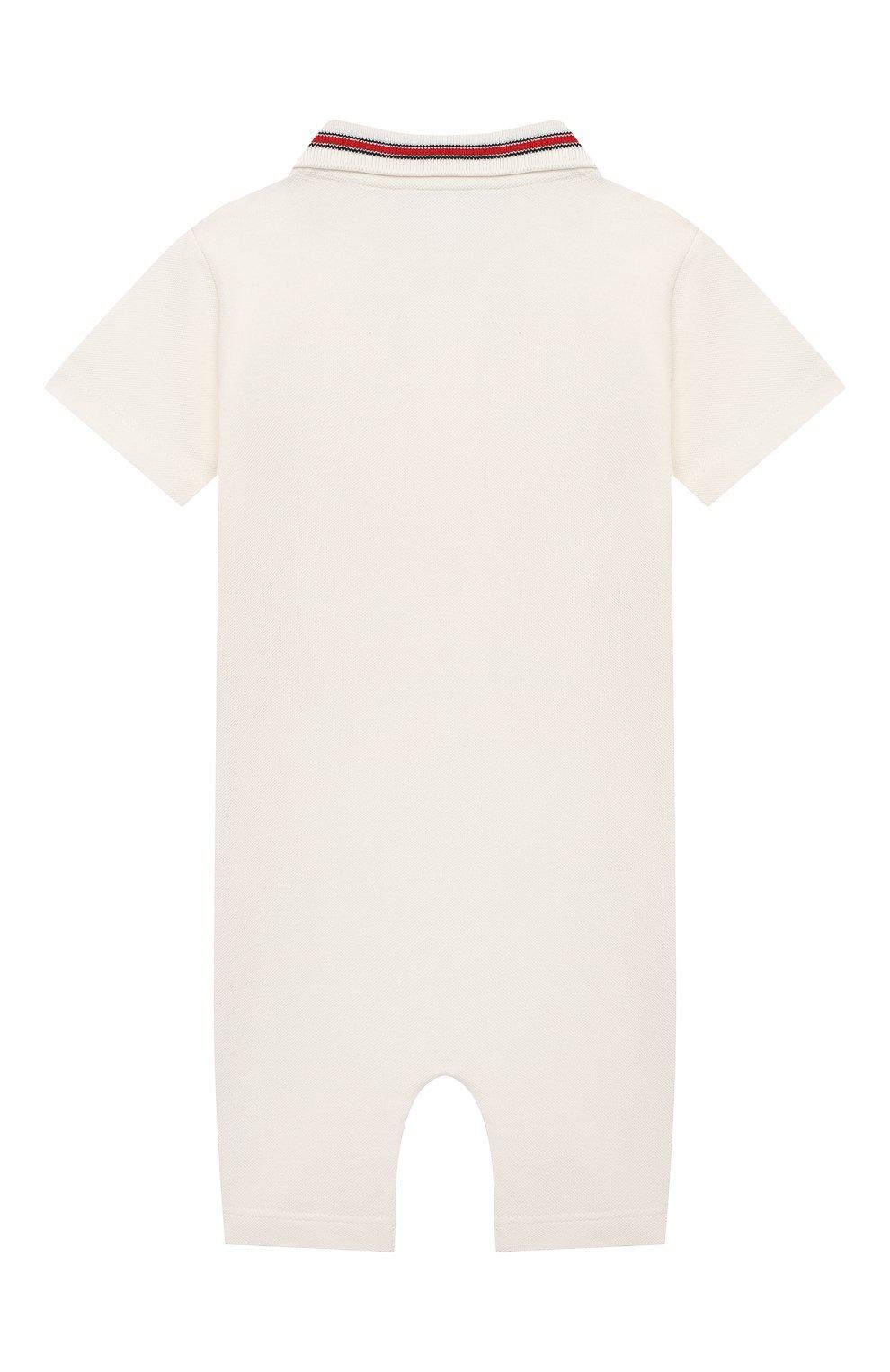 Детское хлопковый комбинезон MONCLER белого цвета, арт. G1-951-8L705-20-8496F   Фото 2