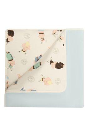 Детского хлопковое одеяло FENDI голубого цвета, арт. BUJ162/ST8 | Фото 1