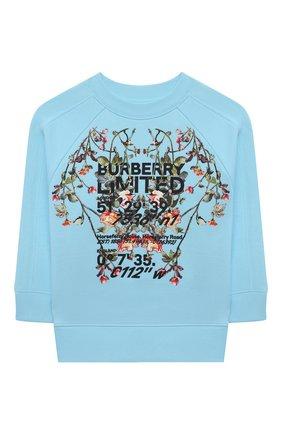 Детский хлопковый свитшот BURBERRY голубого цвета, арт. 8038462 | Фото 1