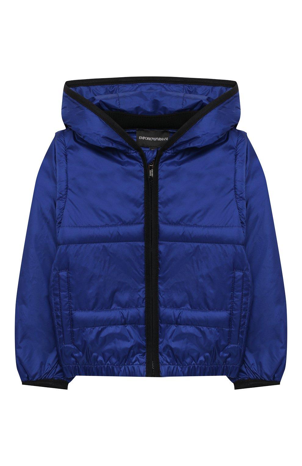 Детского куртка с капюшоном EMPORIO ARMANI синего цвета, арт. 3KHBT7/1NLYZ   Фото 1