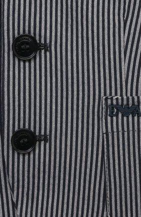 Детский хлопковый пиджак EMPORIO ARMANI темно-синего цвета, арт. 3KHGJ7/4N5FZ | Фото 3
