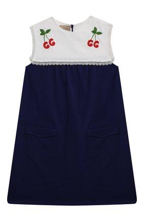 Детское хлопковое платье GUCCI синего цвета, арт. 650131/XJDAL   Фото 1