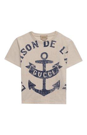 Детская хлопковая футболка GUCCI бежевого цвета, арт. 575114/XJC7S   Фото 1