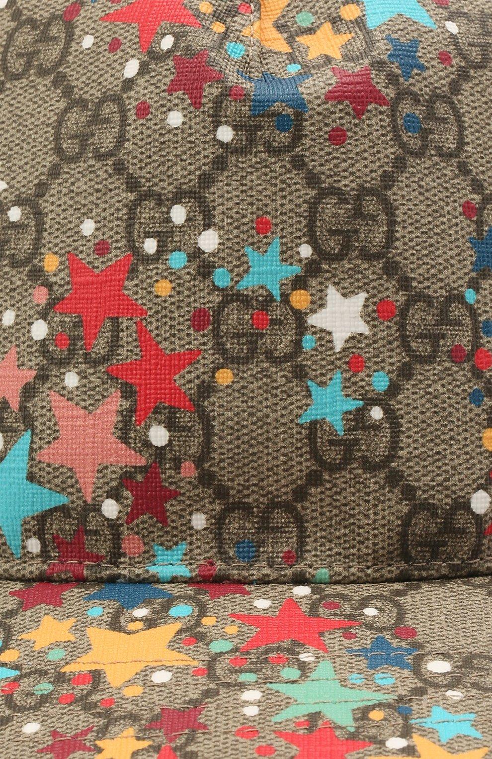 Детская бейсболка GUCCI разноцветного цвета, арт. 481757/4HAEW | Фото 3 (Материал: Текстиль, Синтетический материал, Хлопок)