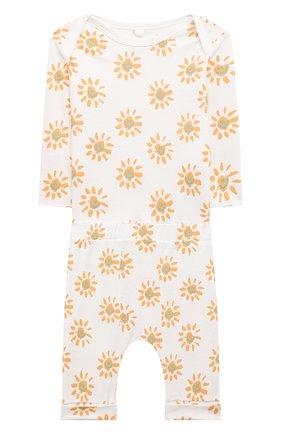 Детский комплект из лонгслива и брюк STELLA MCCARTNEY белого цвета, арт. 602289/SQJ09 | Фото 1
