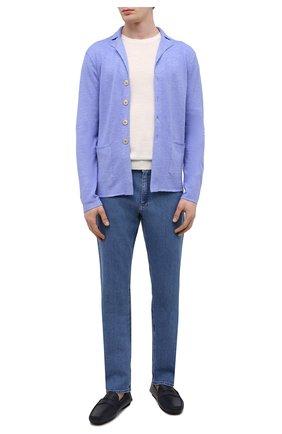 Мужские кожаные мокасины ALDO BRUE темно-синего цвета, арт. AB0005.VP.P.P | Фото 2 (Материал внутренний: Натуральная кожа; Стили: Кэжуэл)