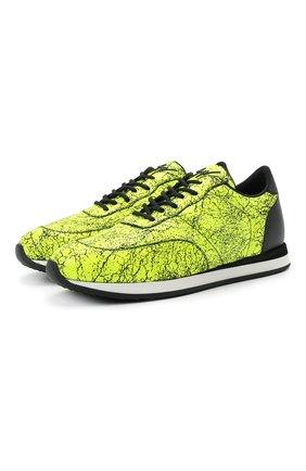 Мужские кожаные кроссовки jimi running GIUSEPPE ZANOTTI DESIGN желтого цвета, арт. IU00030/008 | Фото 1