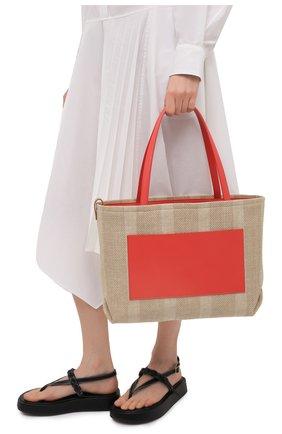 Женский сумка inside out medium LORO PIANA кораллового цвета, арт. FAL6525   Фото 2 (Сумки-технические: Сумки-шопперы; Ошибки технического описания: Нет ширины; Размер: medium; Материал: Текстиль)