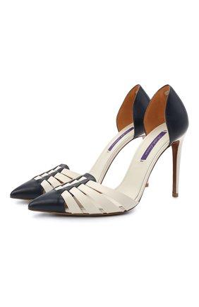 Женские кожаные туфли clare RALPH LAUREN белого цвета, арт. 800841333 | Фото 1 (Каблук тип: Шпилька; Материал внутренний: Натуральная кожа; Подошва: Плоская; Каблук высота: Высокий)