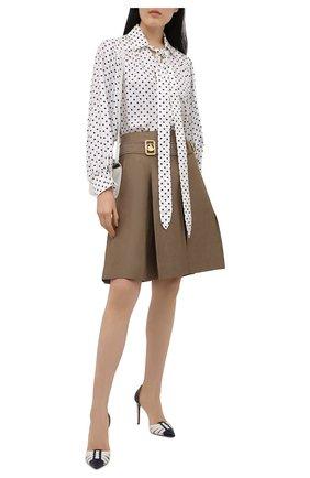 Женские кожаные туфли clare RALPH LAUREN белого цвета, арт. 800841333 | Фото 2 (Каблук тип: Шпилька; Материал внутренний: Натуральная кожа; Подошва: Плоская; Каблук высота: Высокий)