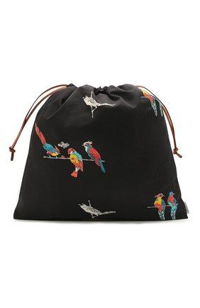 Женский сумка drawstring loewe x paula's ibiza LOEWE черного цвета, арт. C822086X08   Фото 1 (Размер: large; Женское Кросс-КТ: Клатч-клатчи; Материал: Текстиль)