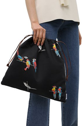 Женский сумка drawstring loewe x paula's ibiza LOEWE черного цвета, арт. C822086X08   Фото 2 (Размер: large; Женское Кросс-КТ: Клатч-клатчи; Материал: Текстиль)
