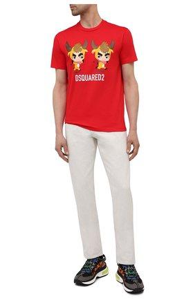 Мужская хлопковая футболка DSQUARED2 красного цвета, арт. S74GD0851/S23009   Фото 2